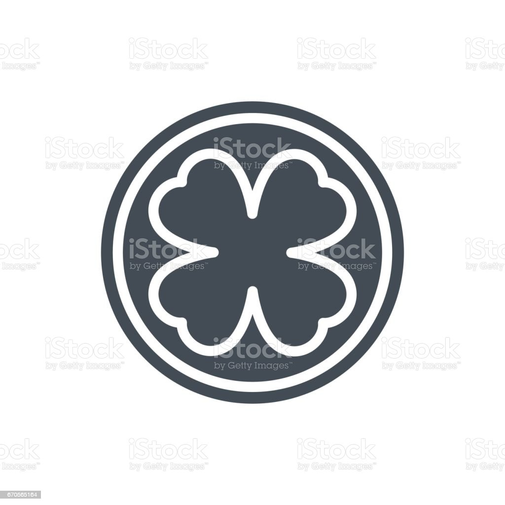 Holiday Patricks Day Silhouette Icon Luck Coin Shamrock vector art illustration