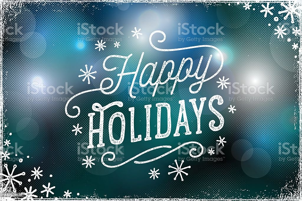 Holiday Photo Overlay with Bokeh Lights Background vector art illustration