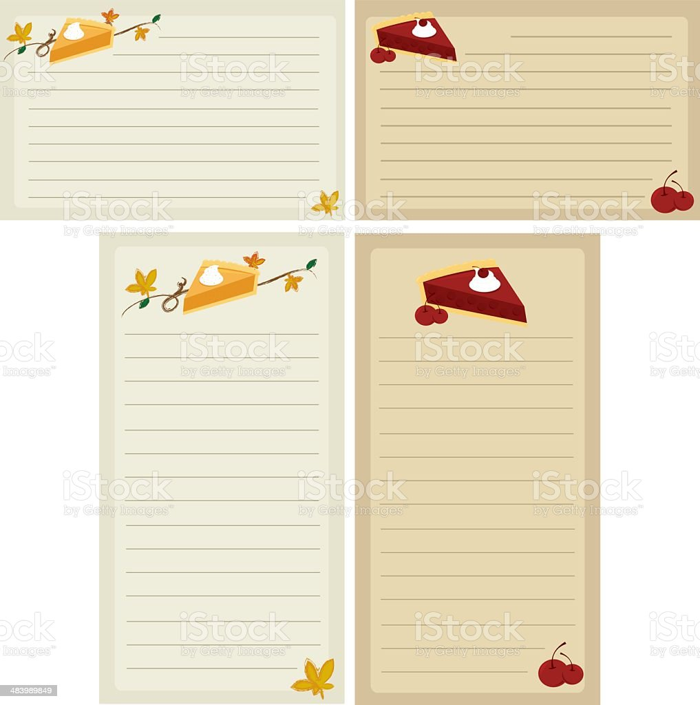 Holiday Pie Recipe Cards and Shopping Lists royalty-free stock vector art