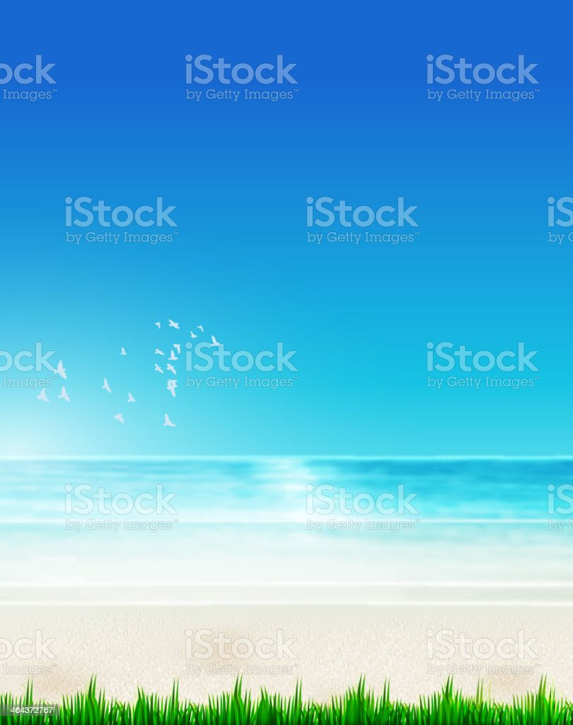 Holiday poster with beach royalty-free stock vector art