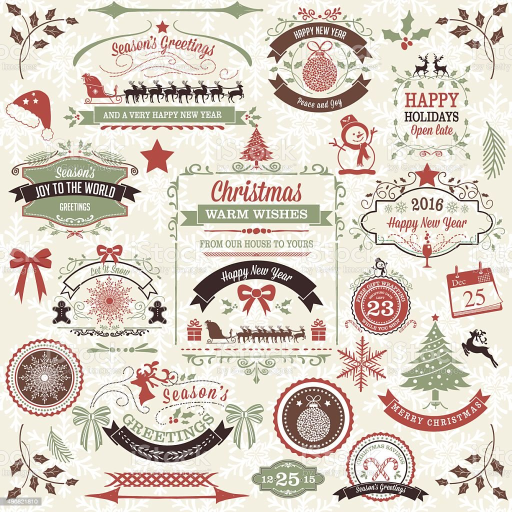 Holiday Retro Inspired Christmas Label Tag Set vector art illustration