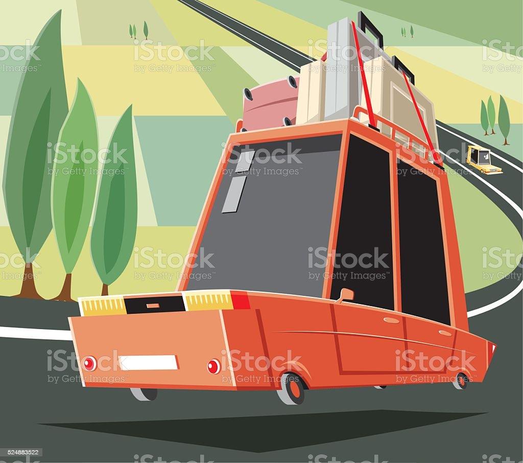 holiday road vector art illustration