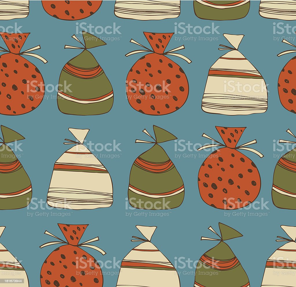 Holiday seamless pattern with sacks of gifts royalty-free stock vector art