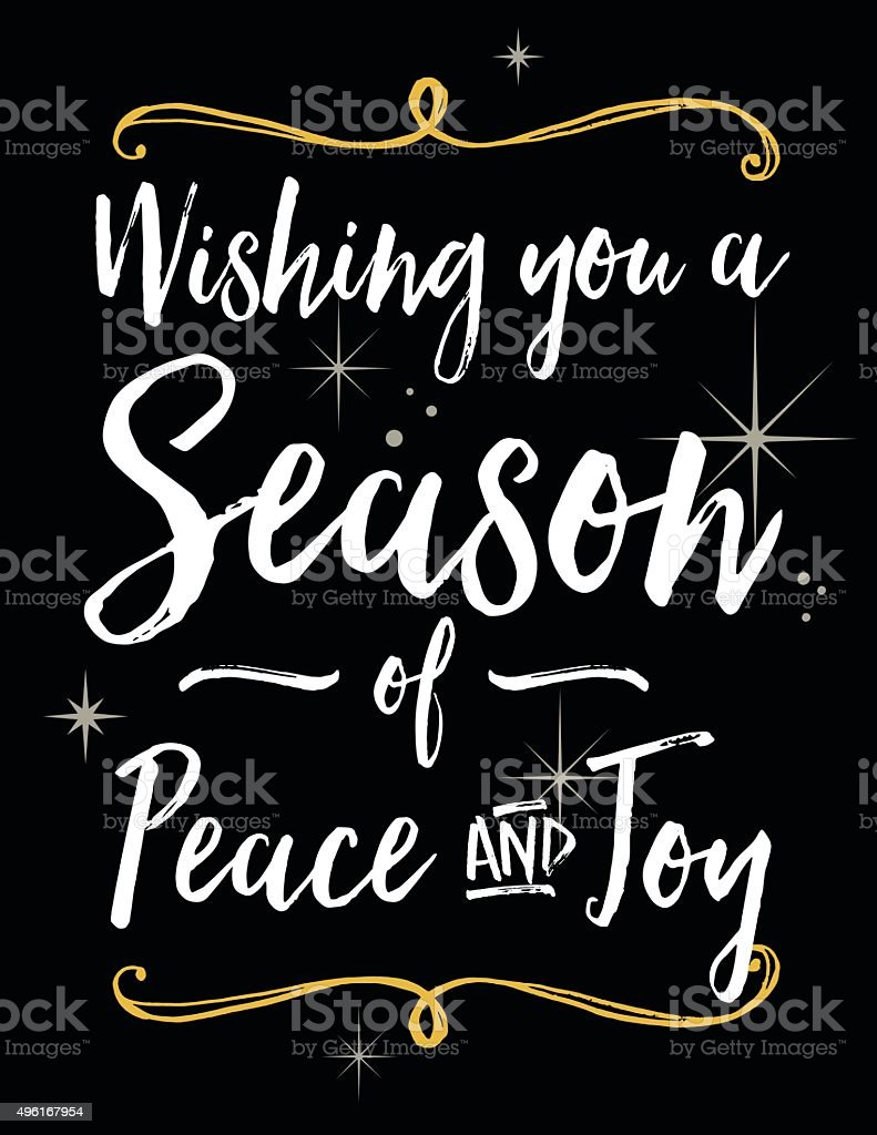Holiday Season Greeting with Bold Script Lettering vector art illustration
