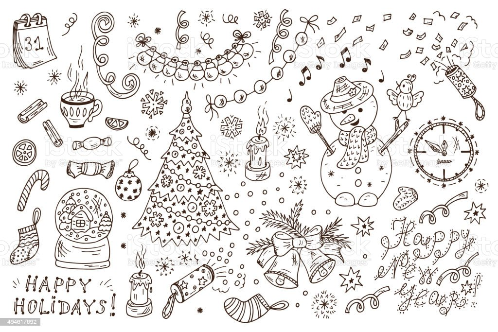Holiday Set. Hand Drawn Doodles New Year characters, decorations. Xmas. vector art illustration