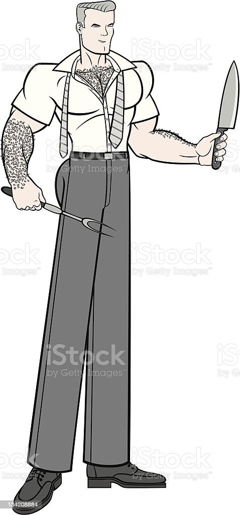 Holiday Shindig Meat Carving Husband vector art illustration
