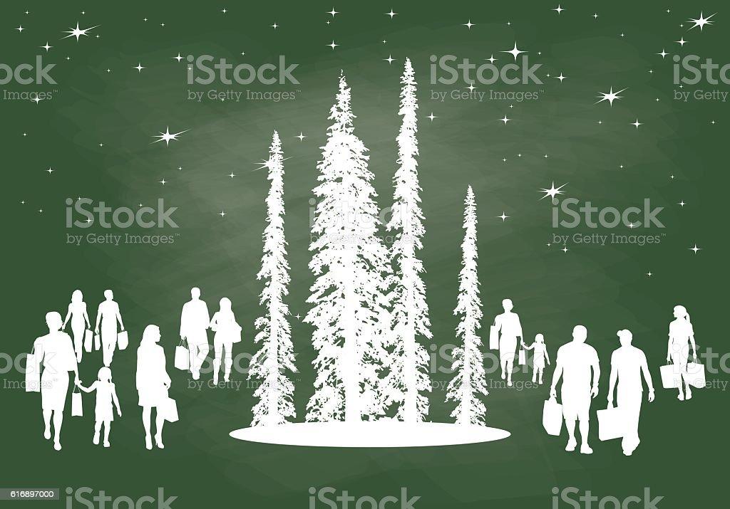 Holiday Shoppers Chalkboard vector art illustration