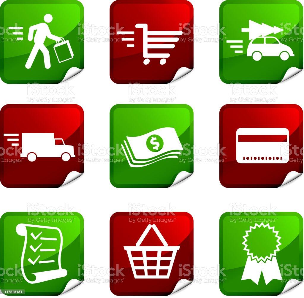 Holiday Shopping nine royalty free vector icon set royalty-free stock vector art