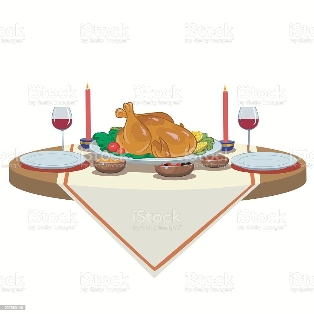 holiday table with turkey royalty-free stock vector art