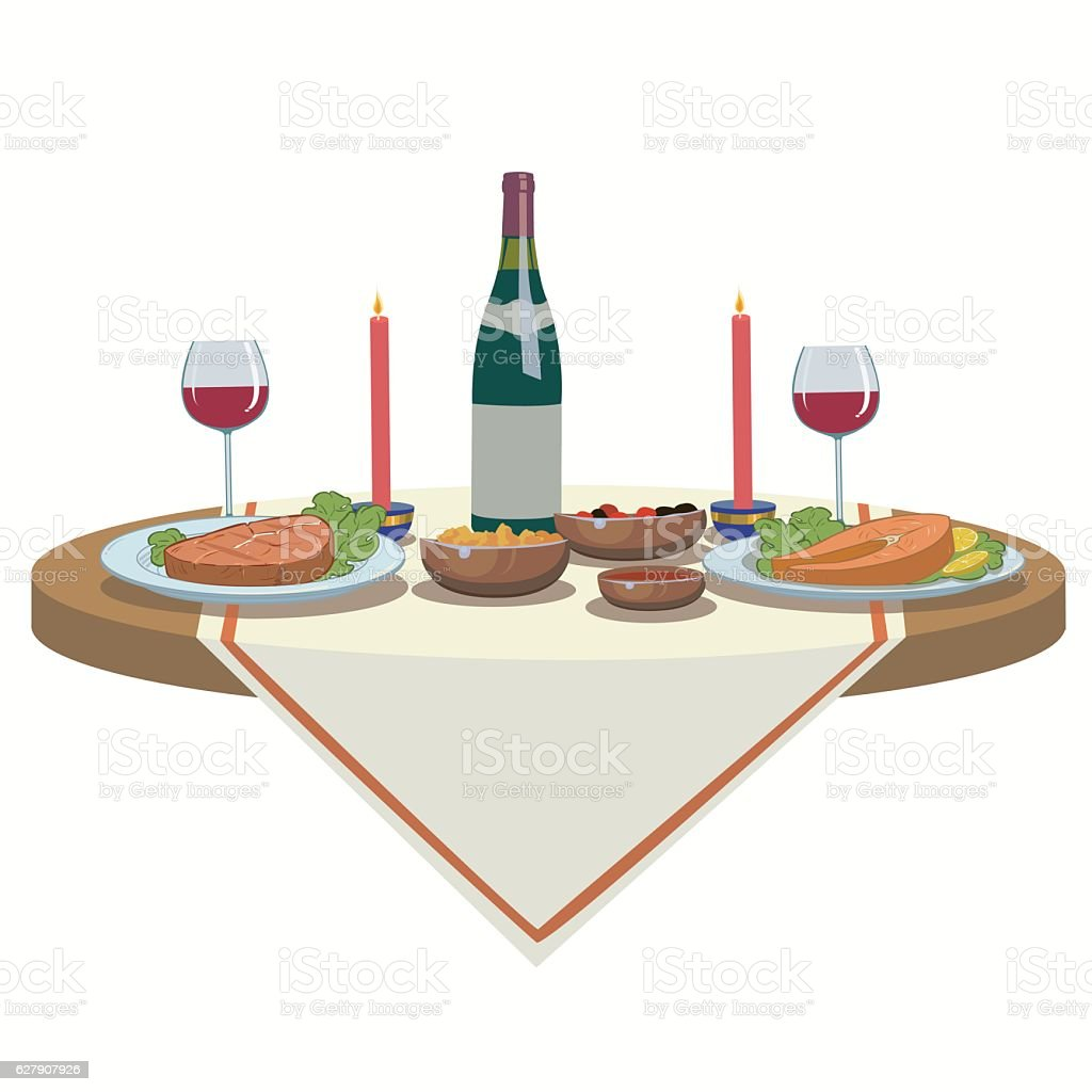 holiday table with wine and and delicious food royalty-free stock vector art