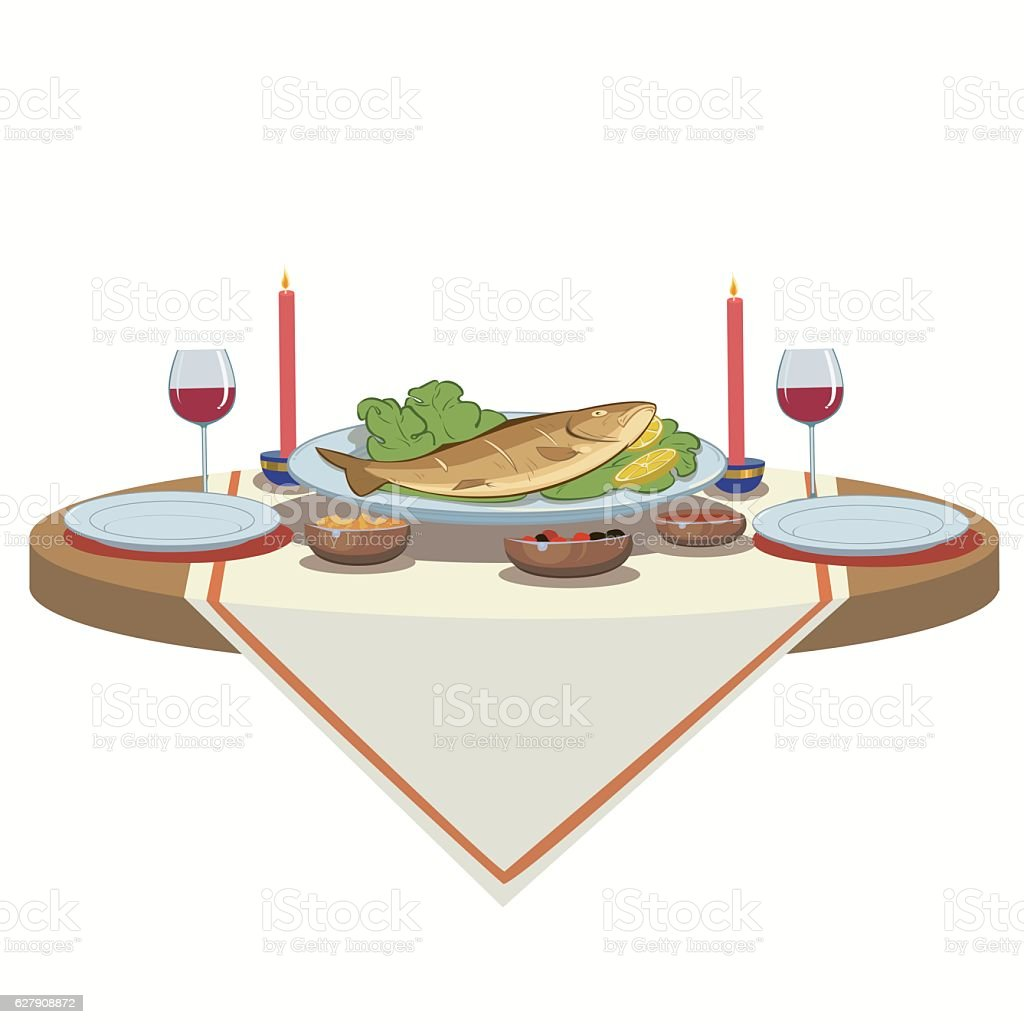 holiday table with wine and fish royalty-free stock vector art