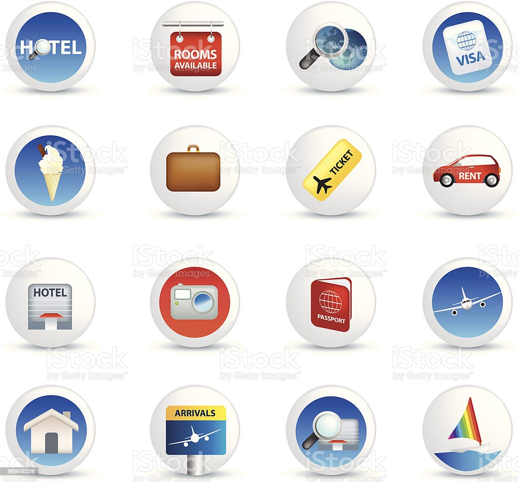 holiday travel and vacation icons royalty-free stock vector art