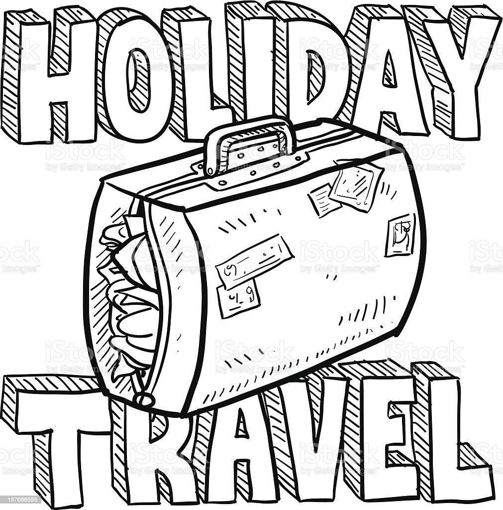 Holiday travel vector sketch vector art illustration