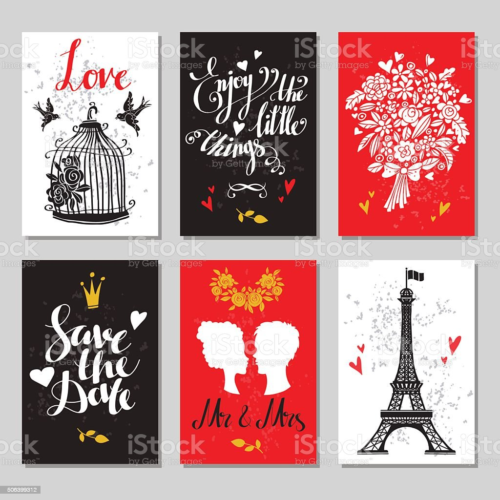 Holiday valentines day cards vector art illustration