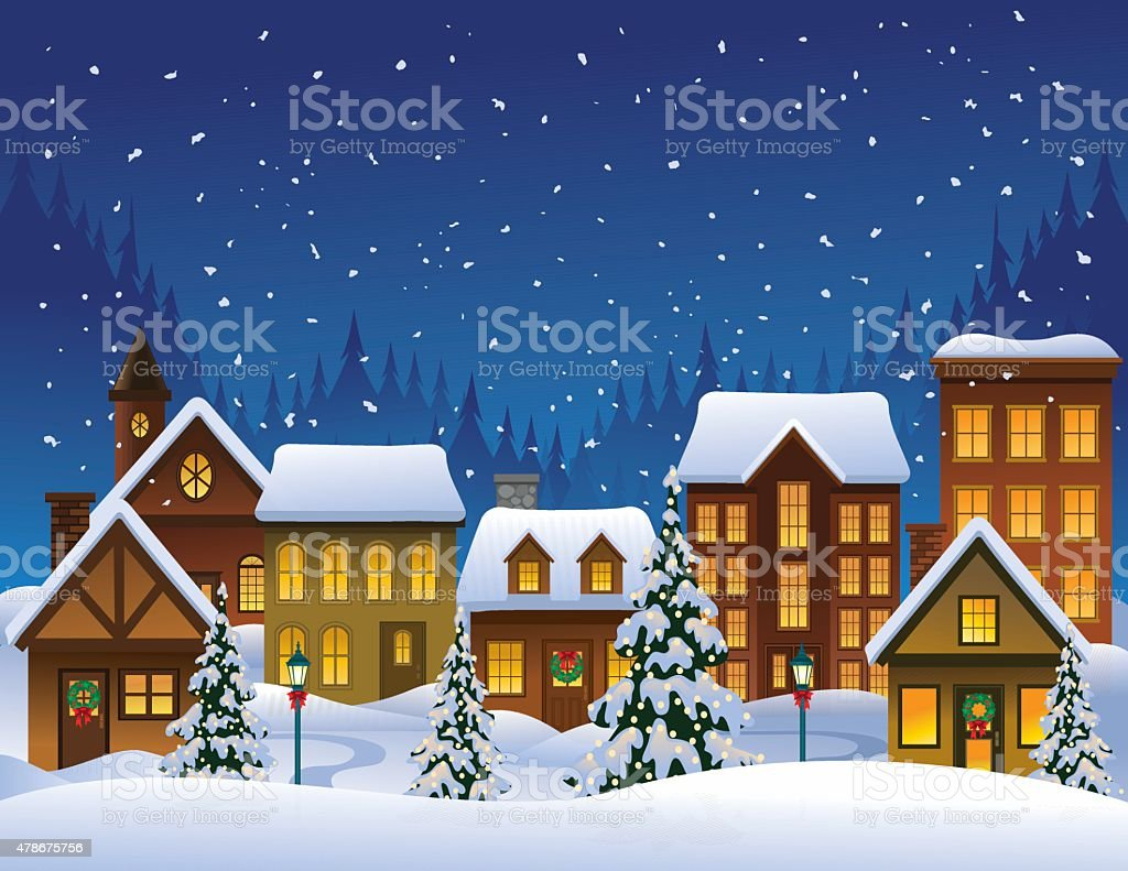 Holiday Village vector art illustration