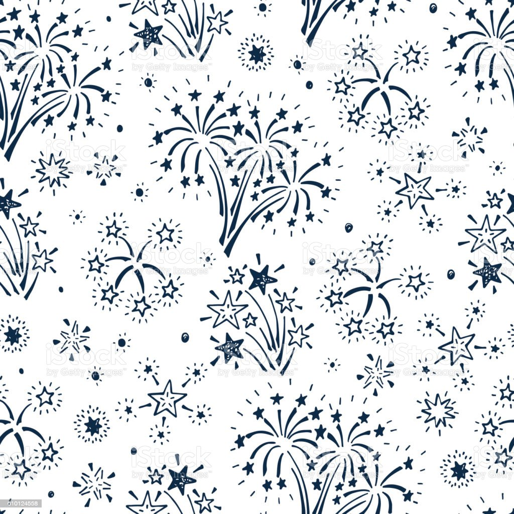 Holiday Wallpaper. Festive party background. Fireworks and Stars Seamless Pattern vector art illustration