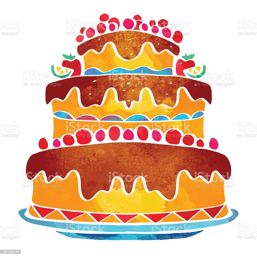 Holiday watercolor cake vector art illustration