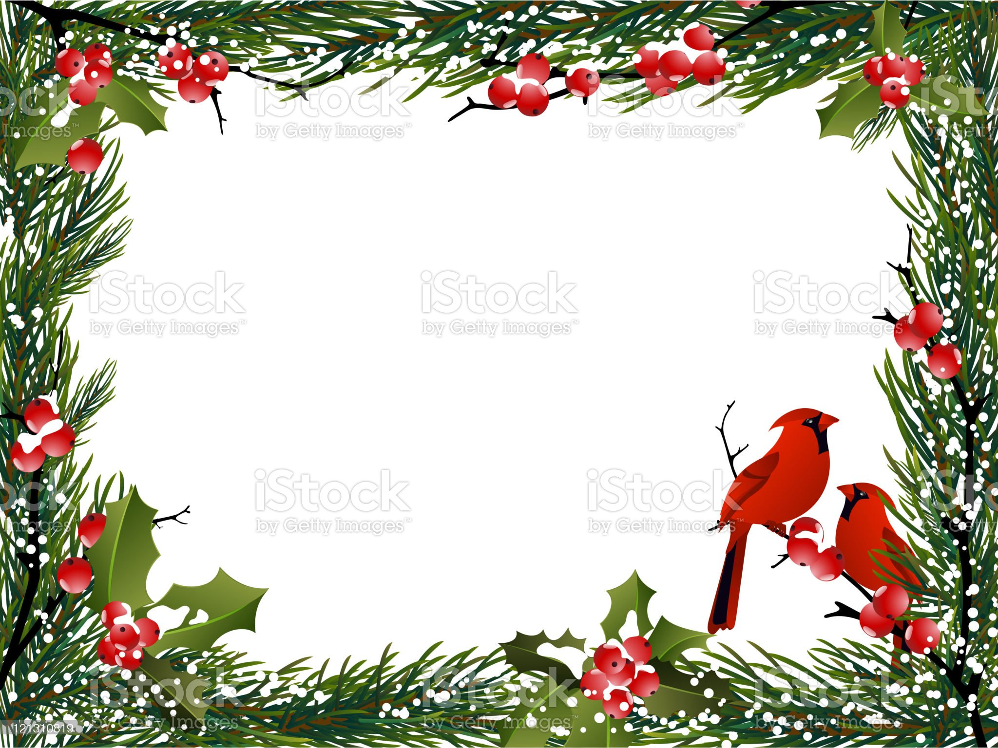 HolidayBackground with Red Cardinals royalty-free stock vector art