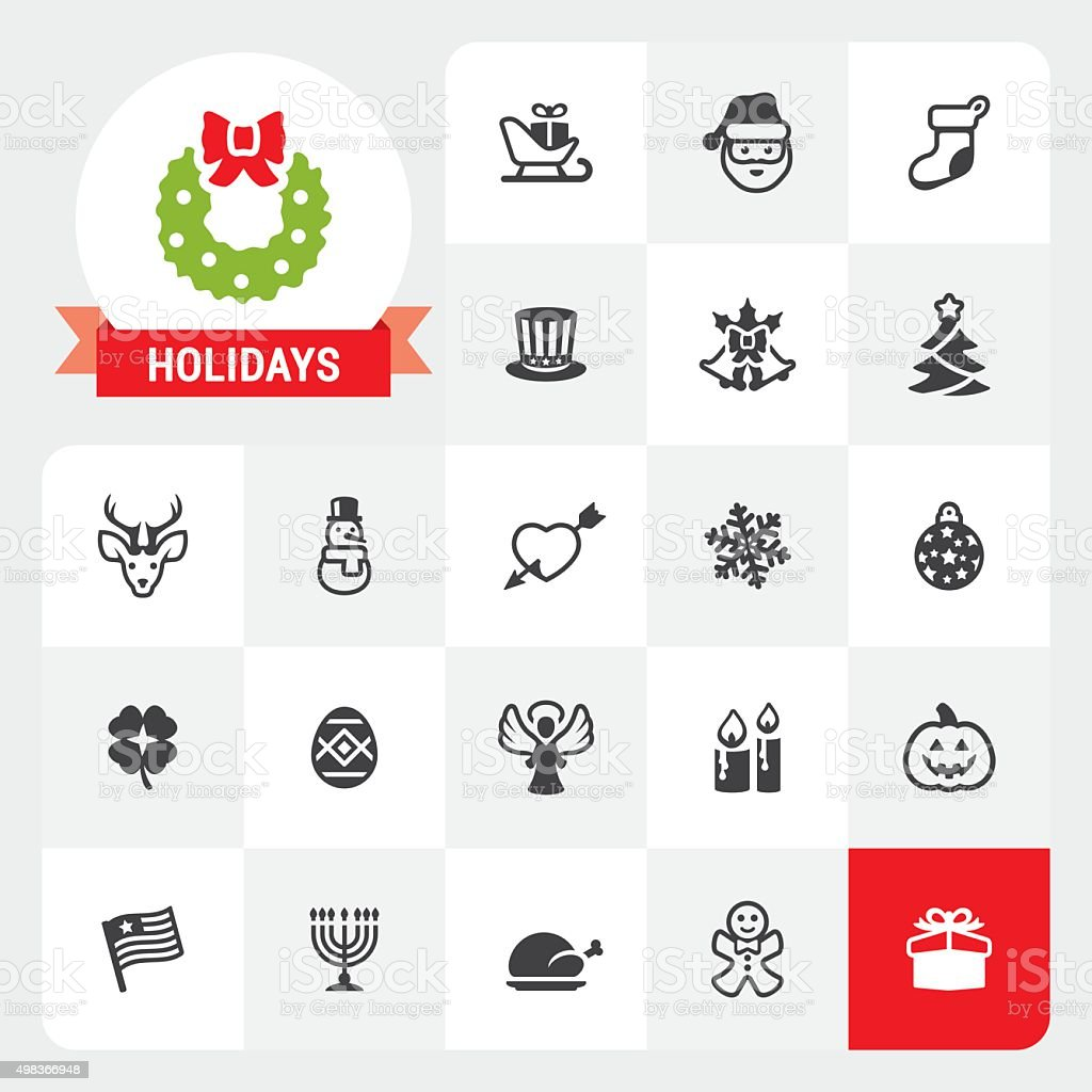 Holidays base vector icons and label vector art illustration