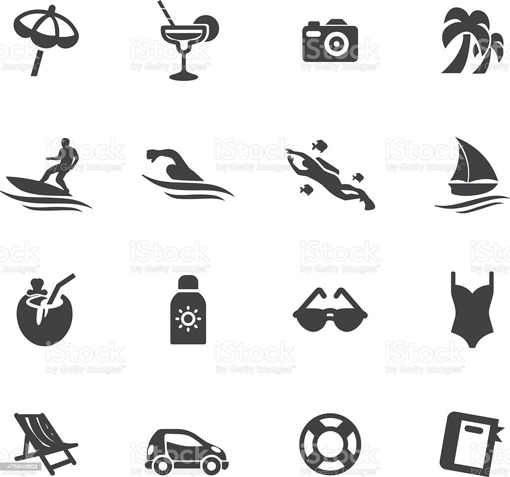 Holidays Beach Silhouette icons vector art illustration