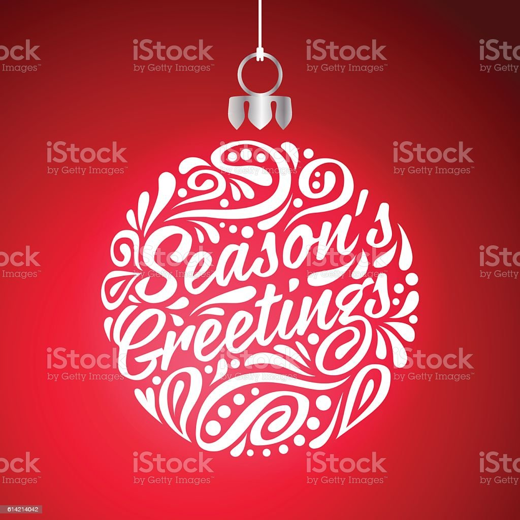 Holidays greeting card with abstract doodle Christmas ball. Season's greeting vector art illustration