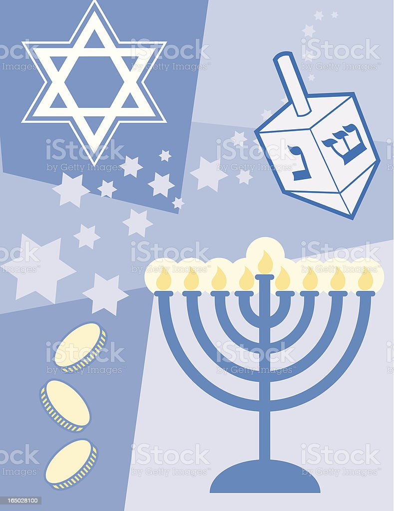 Hanukkah-related Vector collage. All images were drawn by me.
