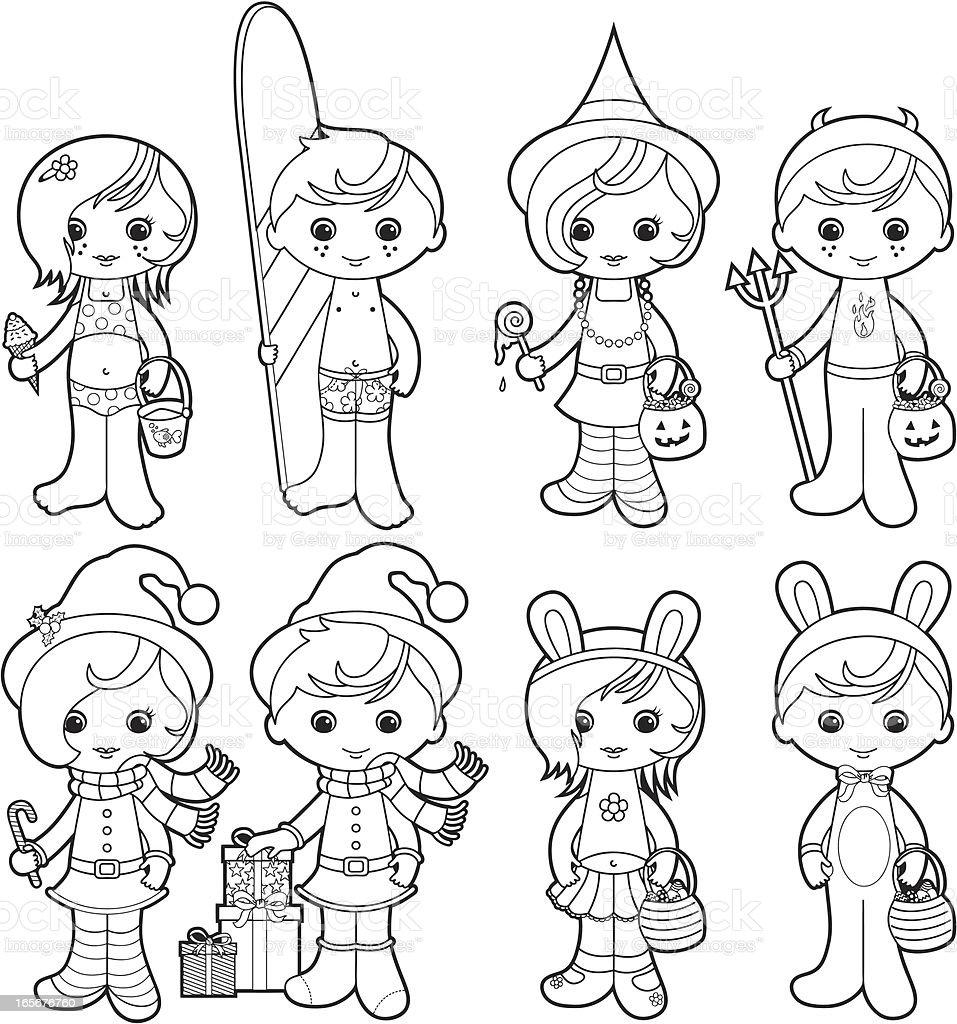 Holidays kids coloring set vector art illustration
