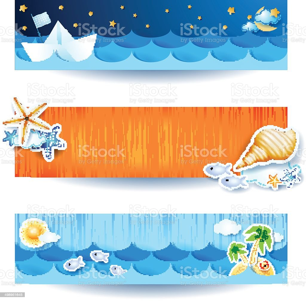 Holidays on the beach, set of banners royalty-free stock vector art