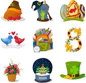 Holidays symbols vector.