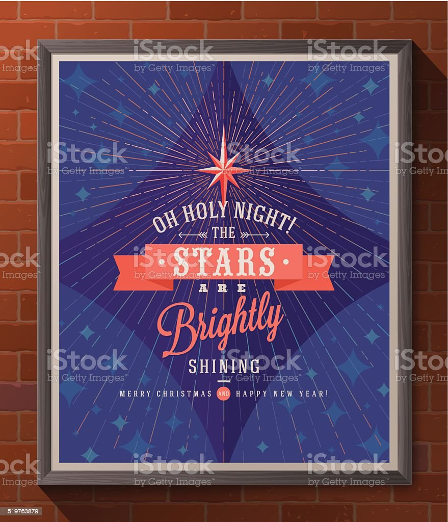 Holidays type design with christmas star and sunburst rays vector art illustration