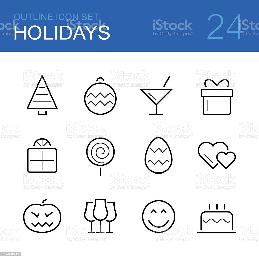 Holidays vector outline icon set vector art illustration
