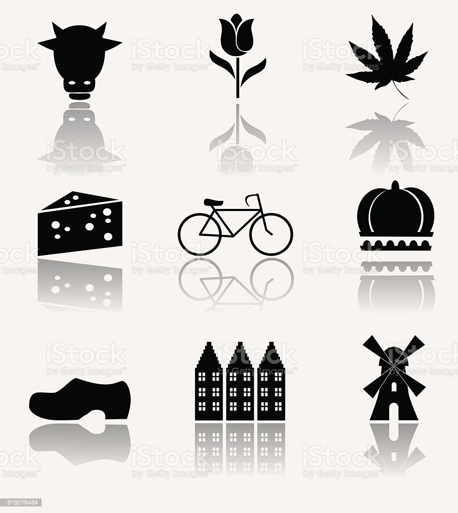 Holland icon set. vector art illustration