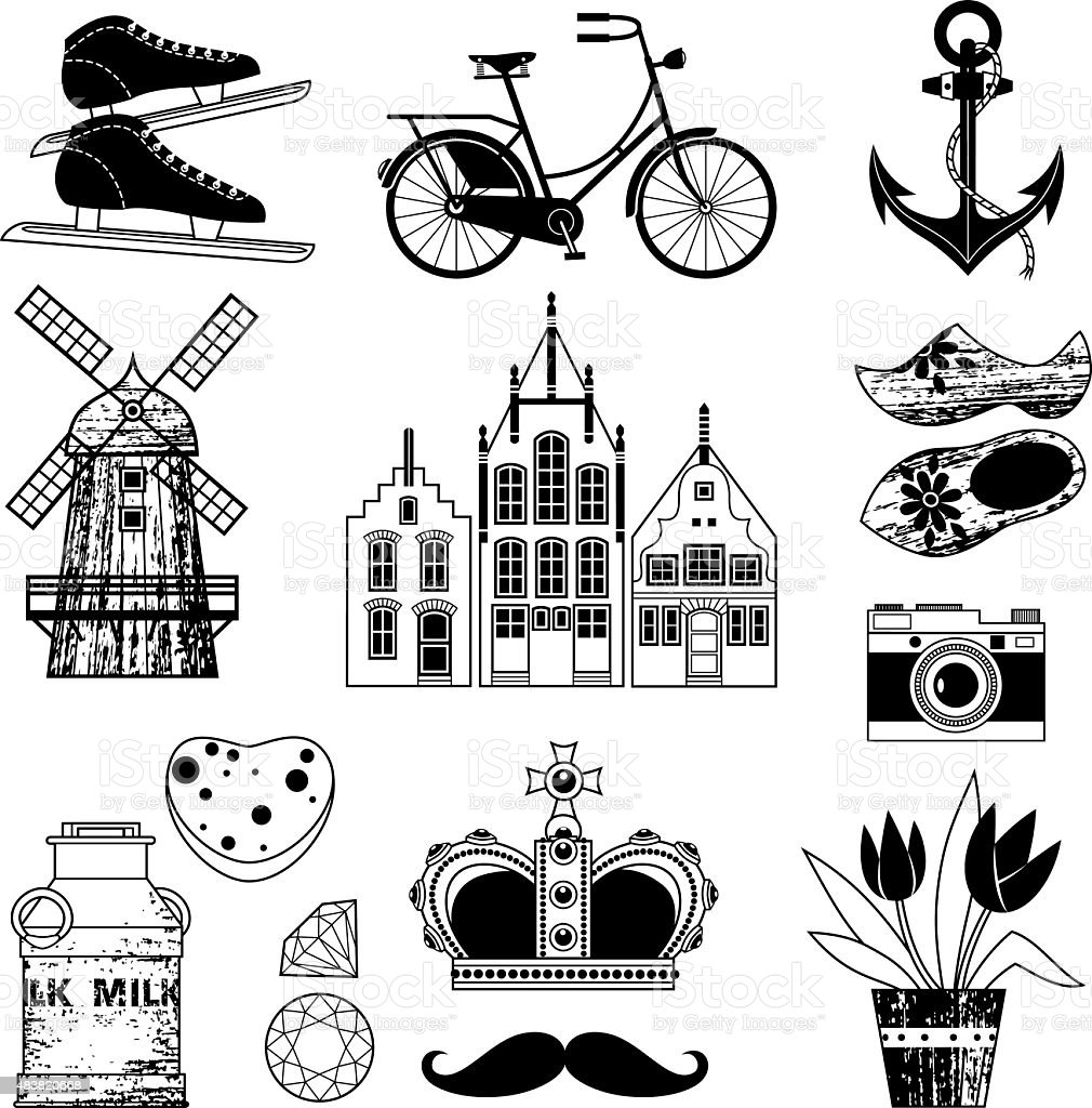Holland. Symbols. vector art illustration