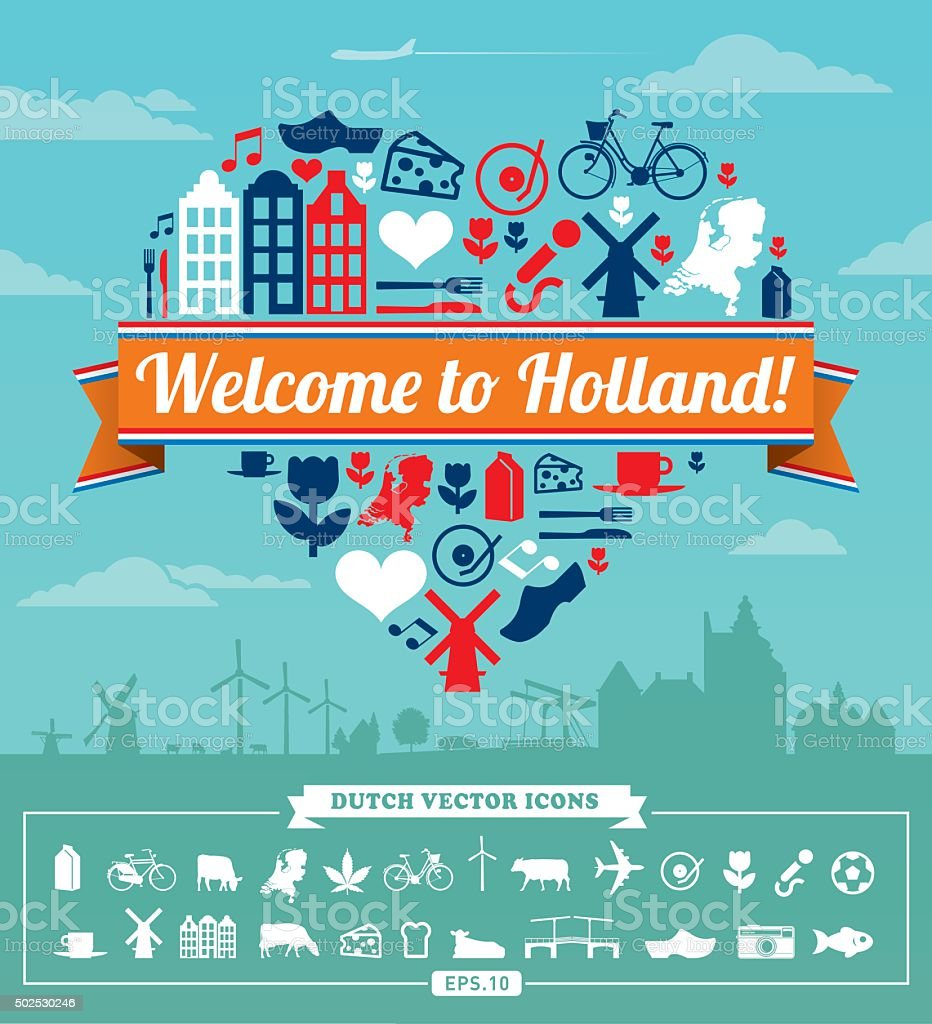 Holland vector set vector art illustration