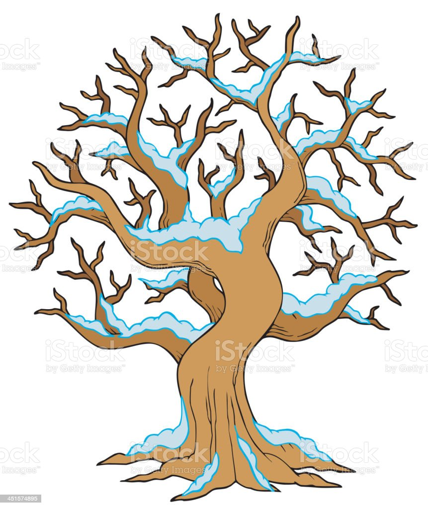 Hollow tree with snow royalty-free stock vector art