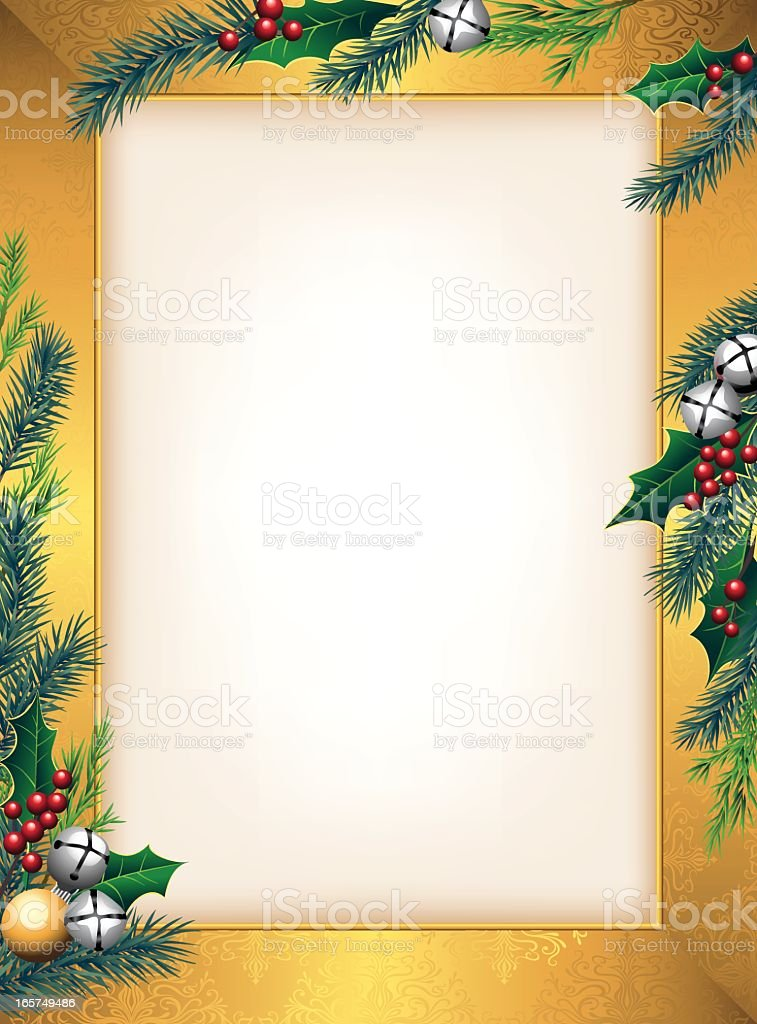 Holly and Pine Frame with Bells royalty-free stock vector art