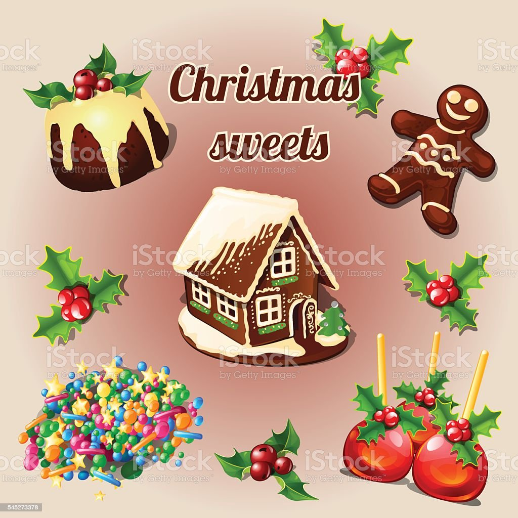 Holly berry and sweet Christmas desserts vector art illustration