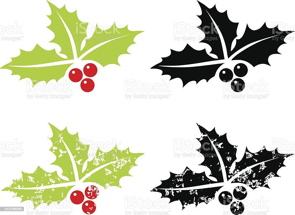 Holly berry grunge - Christmas symbol vector art illustration