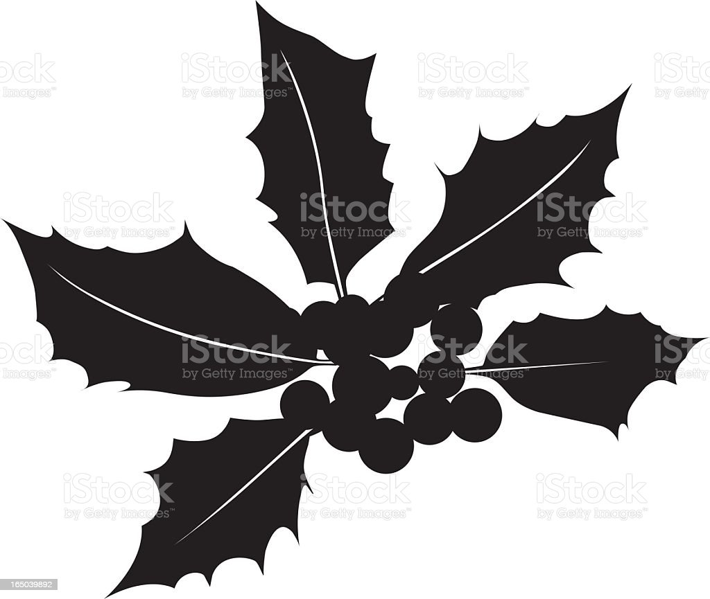 Holly Berry Silhouette Vector royalty-free stock vector art