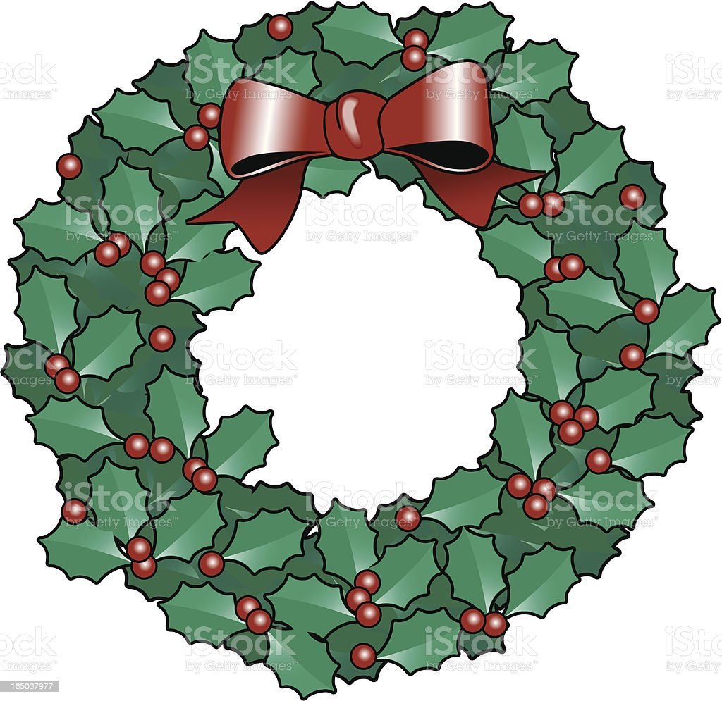 holly berry wreath royalty-free stock vector art