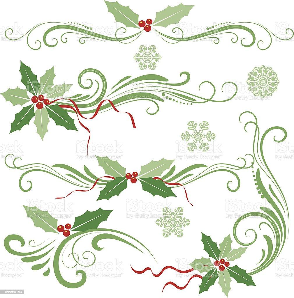Holly christmas decoration royalty-free stock vector art