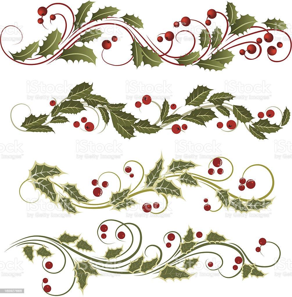 Holly Christmas ornament illustration vector art illustration