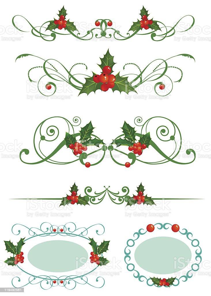 Holly. Christmas set royalty-free stock vector art