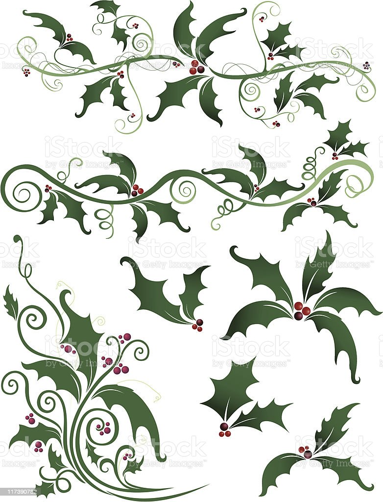 Holly Design Elements royalty-free stock vector art