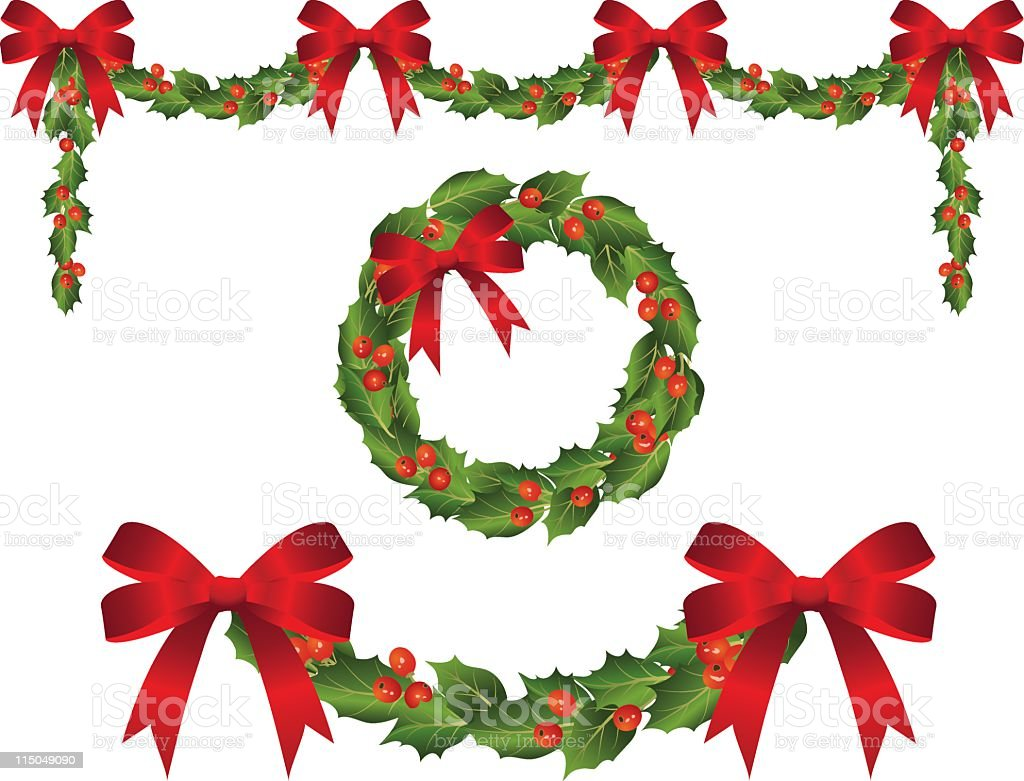Holly Garland Swags and Matching Wreath with Red Ribbon Bows royalty-free stock vector art
