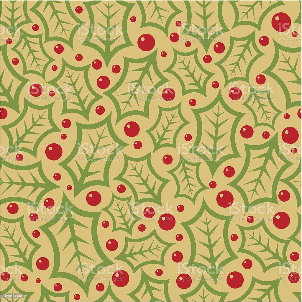 Holly giftpaper or wallpaper? vector art illustration