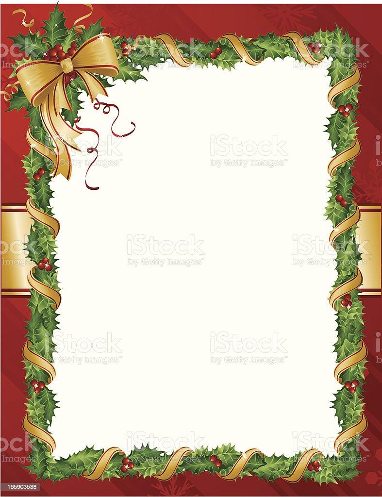 Holly Holiday Card Vertical royalty-free stock vector art
