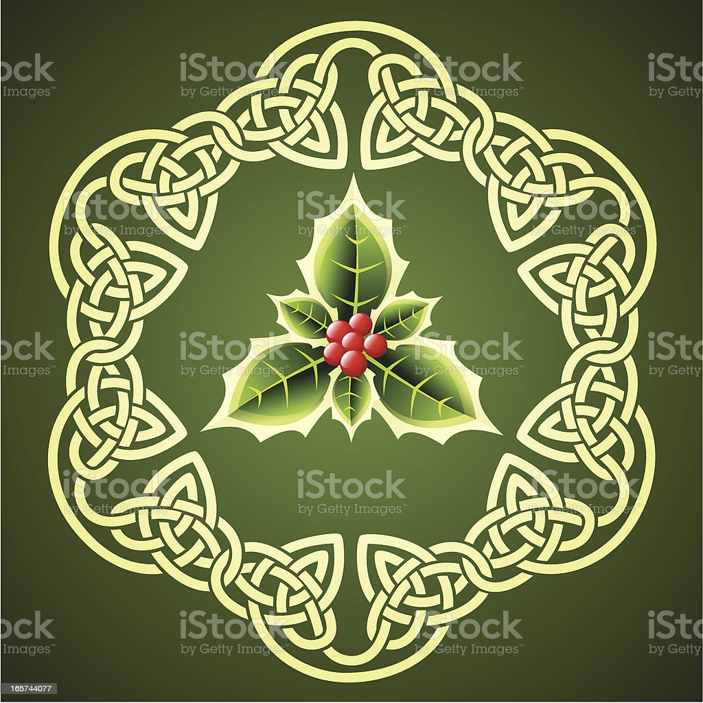 Holly in Celtic circle royalty-free stock vector art