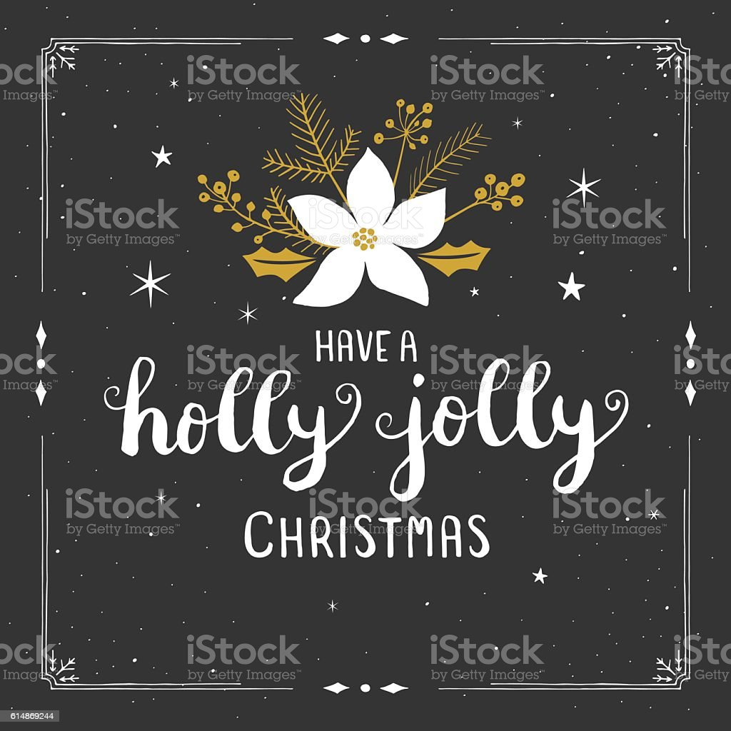 Holly jolly christmas bouquet vector art illustration