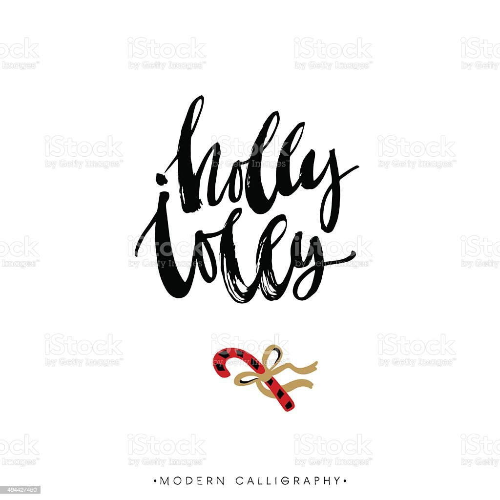 Holly Jolly. Christmas calligraphy. vector art illustration